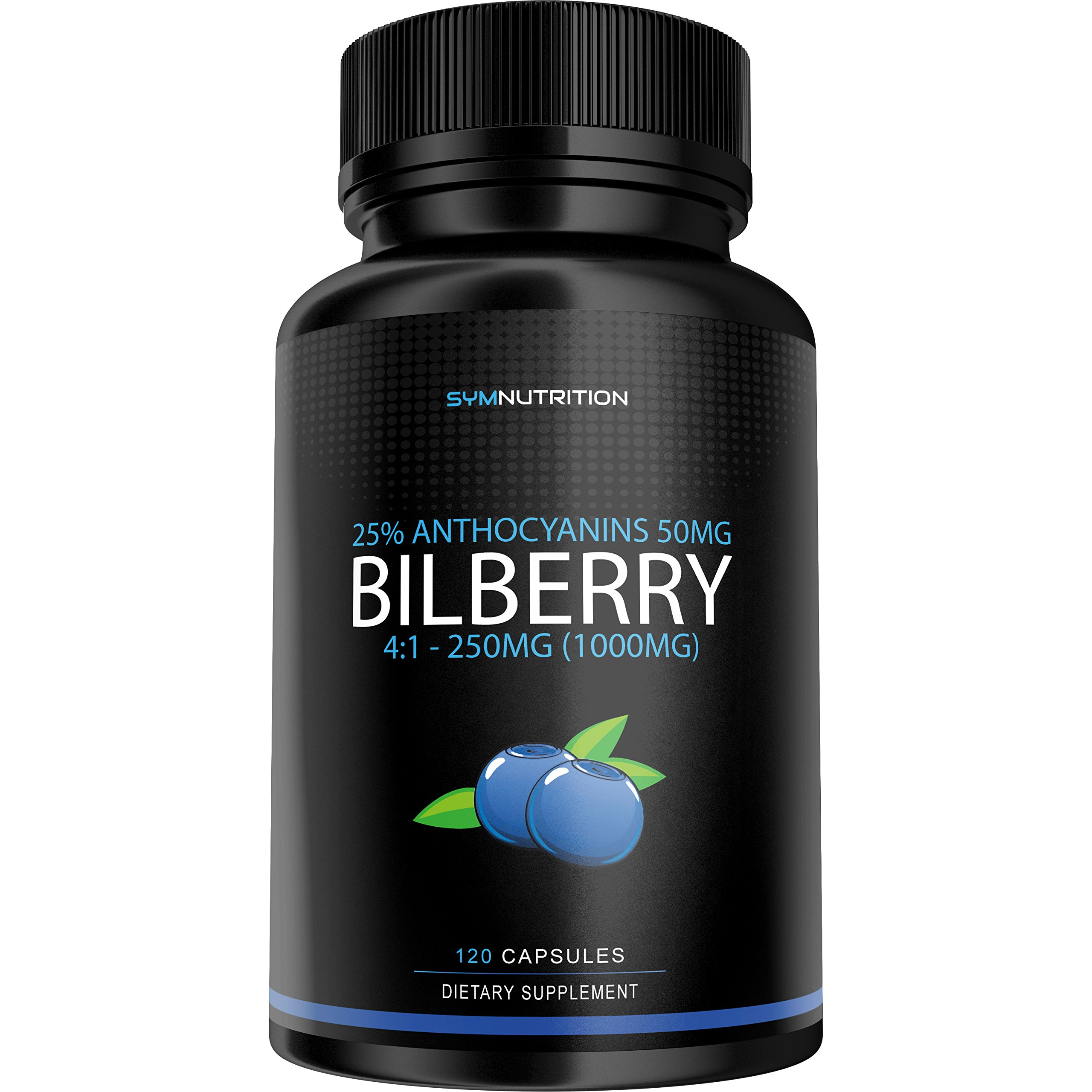 Bilberry Extract 1000mg, 25% Anthocyanins 50mg - 120 Count | European Blueberry | Taken for its Ability to Support Healthy Vision, Memory & Cognition | V-Capsules