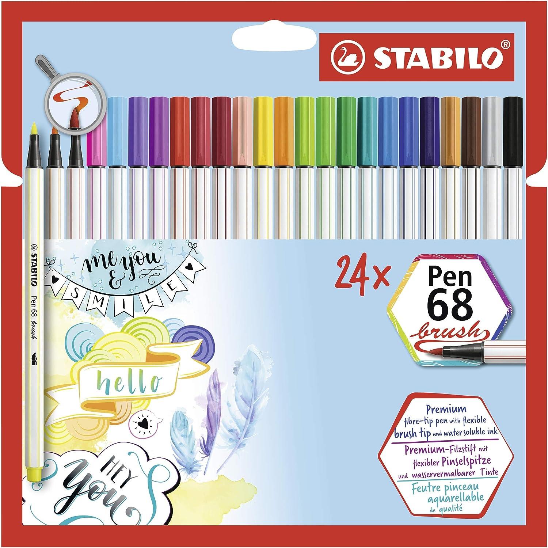 Rotulador punta de pincel STABILO Pen 68 brush - Estuche con 24 colores: Amazon.es: Oficina y papelería