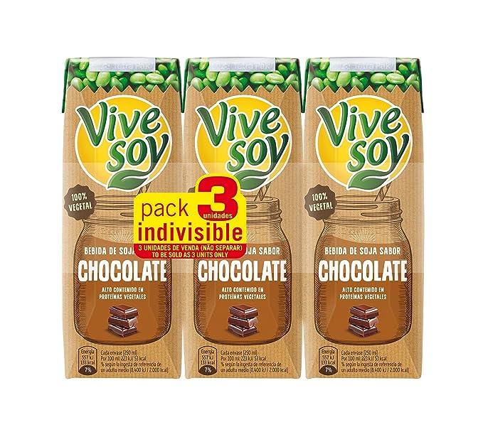 Vivesoy - Bebida de Soja sabor Chocolate - Paquete de 3 x 250 ml - Total: 750 ml