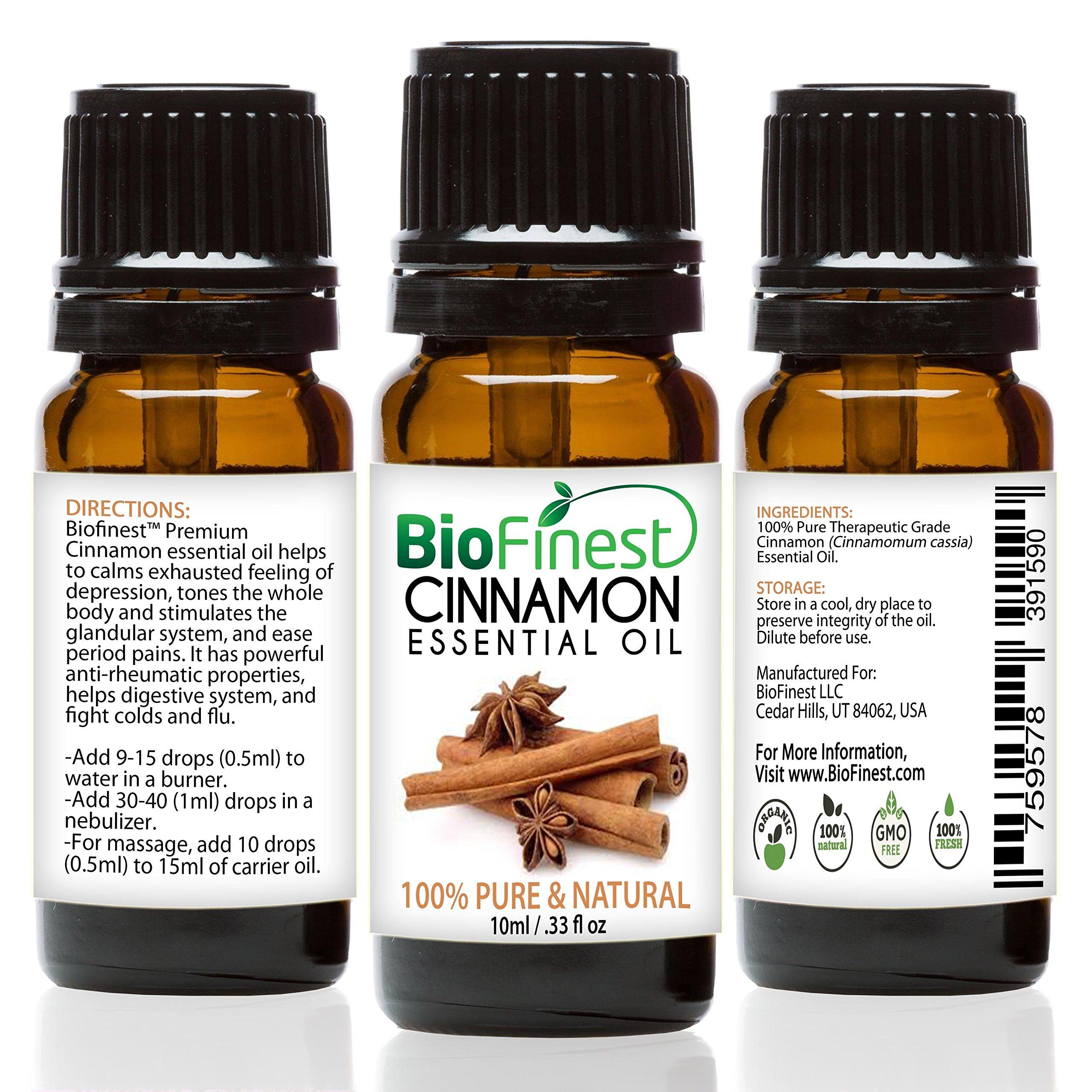 BioFinest Cinnamon (Cassia) Oil - 100% Pure Cinnamon Essential Oil - Premium Organic - Therapeutic Grade - Best For Aromatherapy - Aid Blood Circulation & Muscle Ache - FREE Essential Oil Guide (10ml)