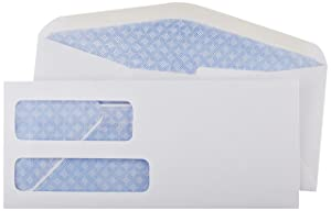 AmazonBasics AMZ92W #9 Double Window Envelopes, White, 500 ct