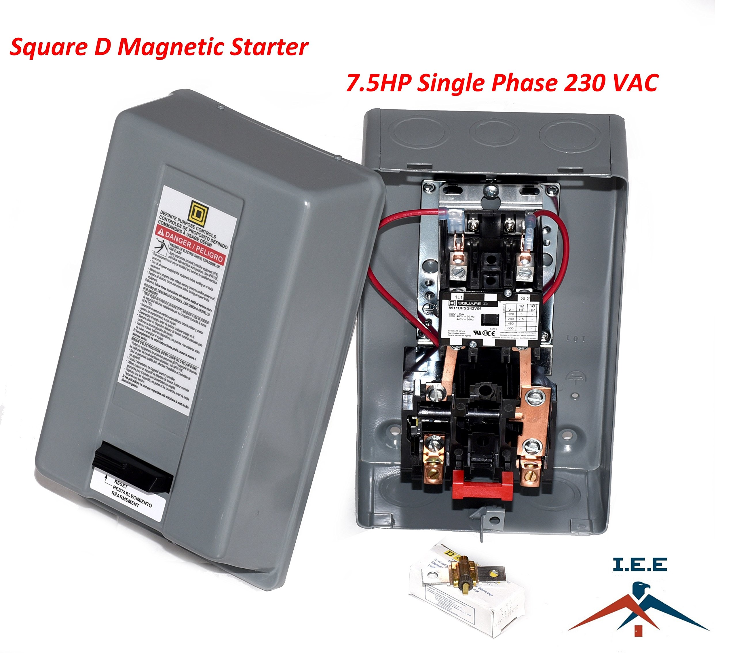SQUARE D MAGNETIC STARTER CONRTROL ELECTRIC MOTOR 8911DPSG42V09 7.5HP 1-PH 230V