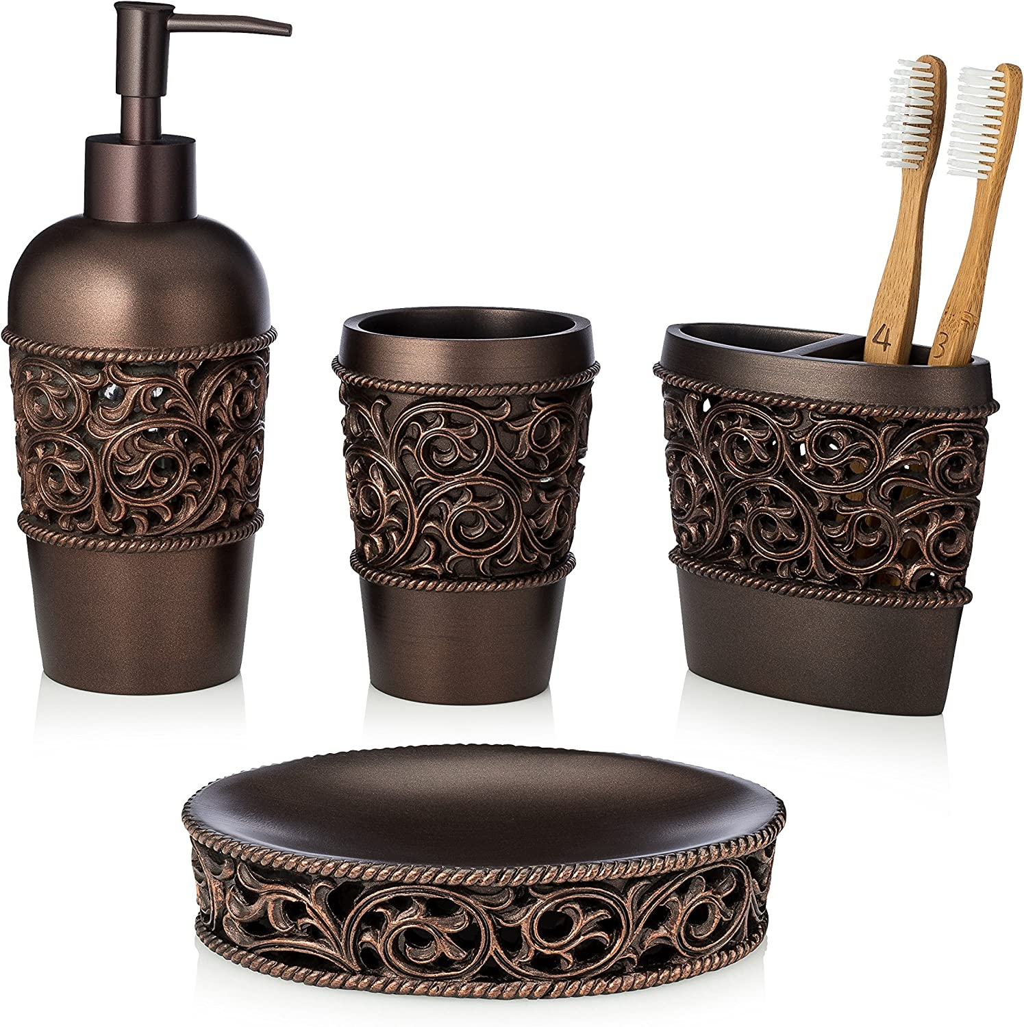 Amazon Com Essentra Home 4 Piece Bronze Bathroom Accessory Set Complete Set Includes Toothbrush Holder Lotion Dispenser Tumbler And Soap Dish Home Kitchen