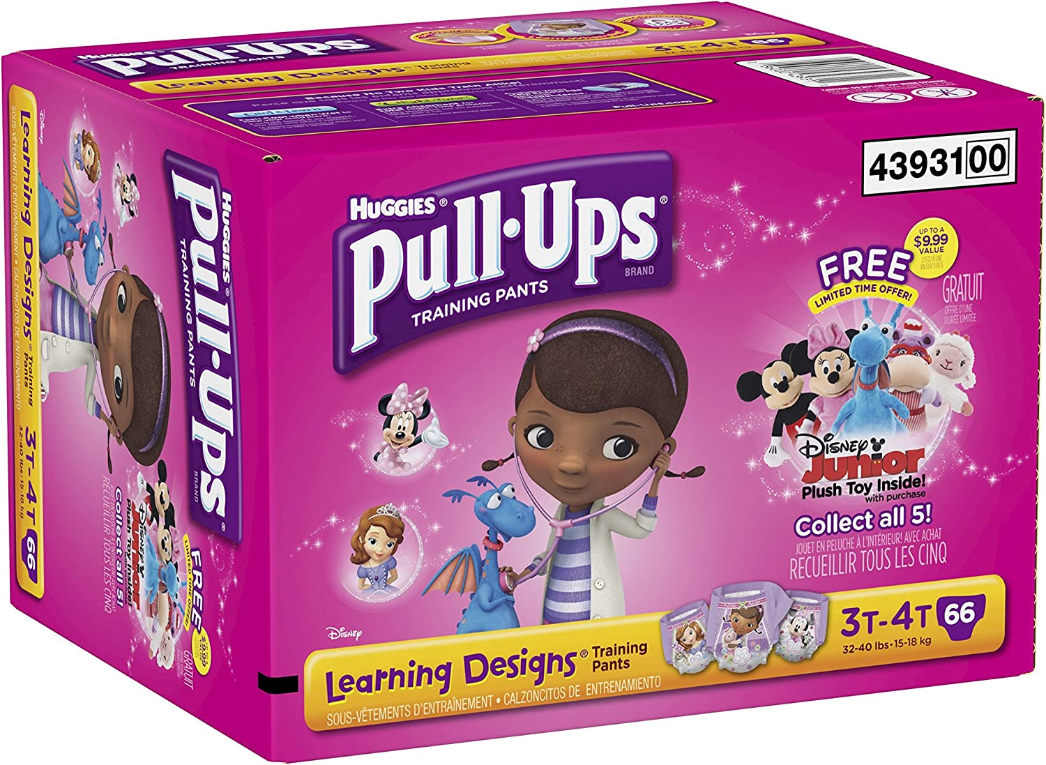 Pull-Ups Training Pants with Learning Designs for Girls, 3T-4T, 66 Count