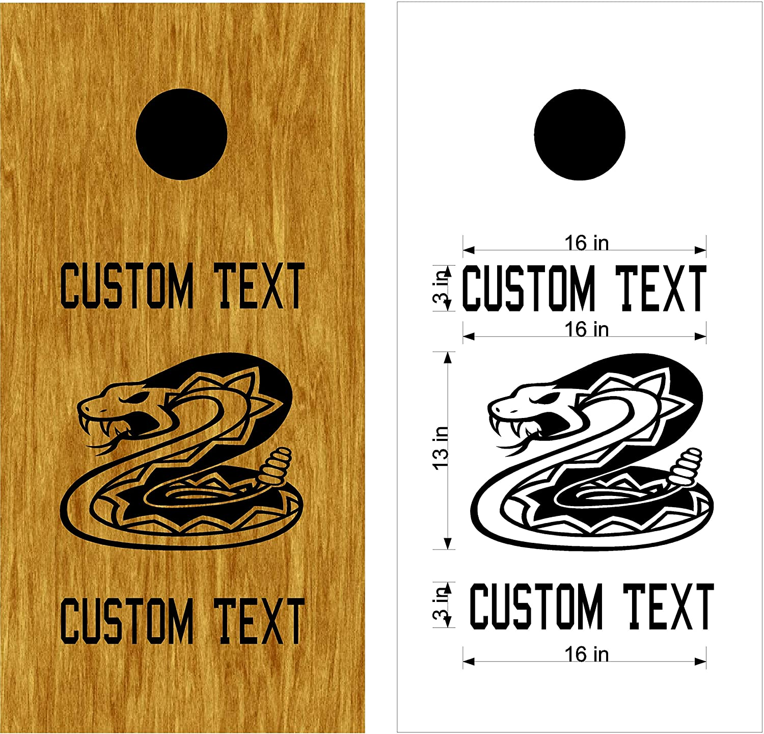 Rattle snakes mascot sports team cornhole board decals stickers enough both boards wedding tailgating camping games do it yourself designs custom corn toss