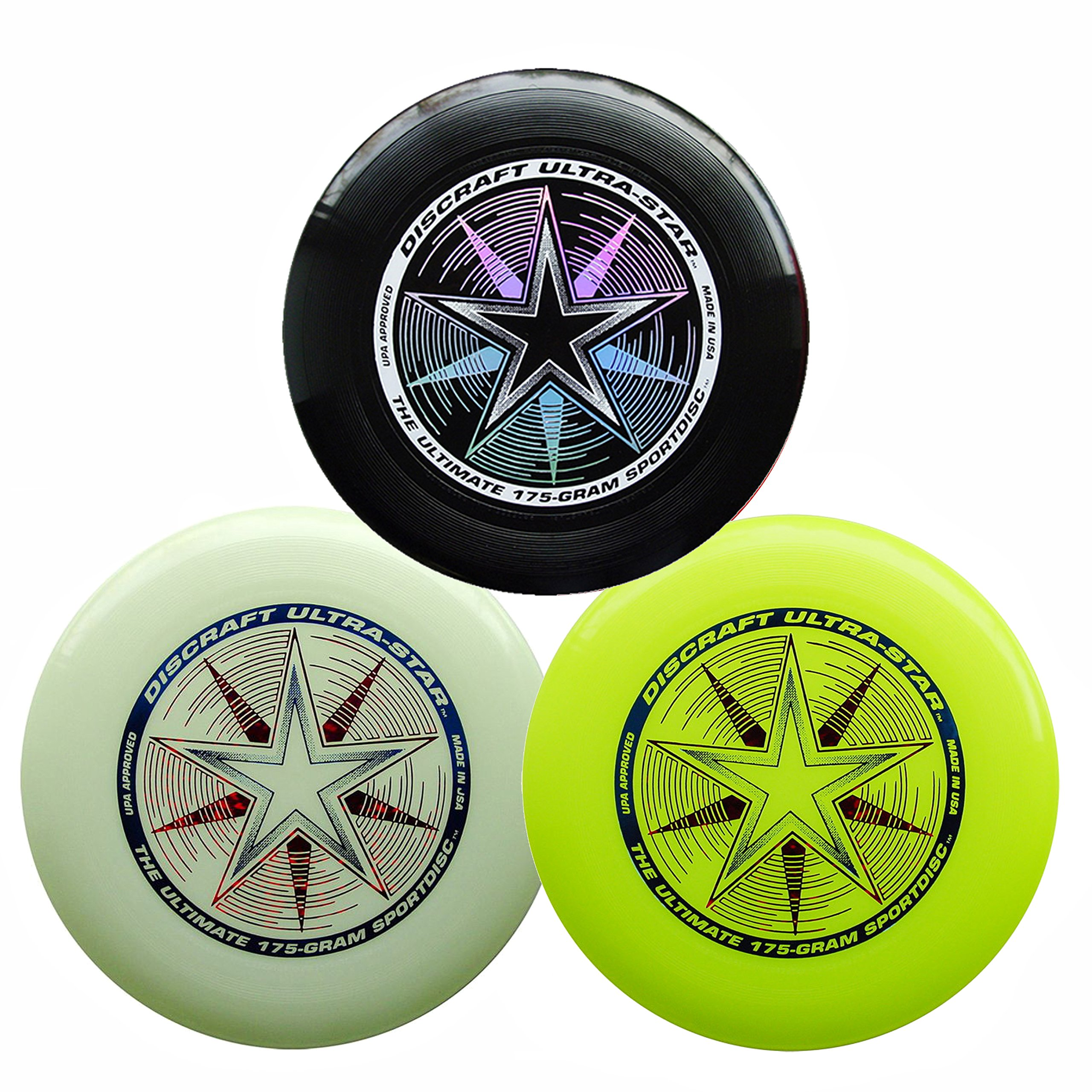 Discraft 175g Ultimate Disc Bundle (3 Discs) Black, Yellow & Glow by Discraft (Image #1)