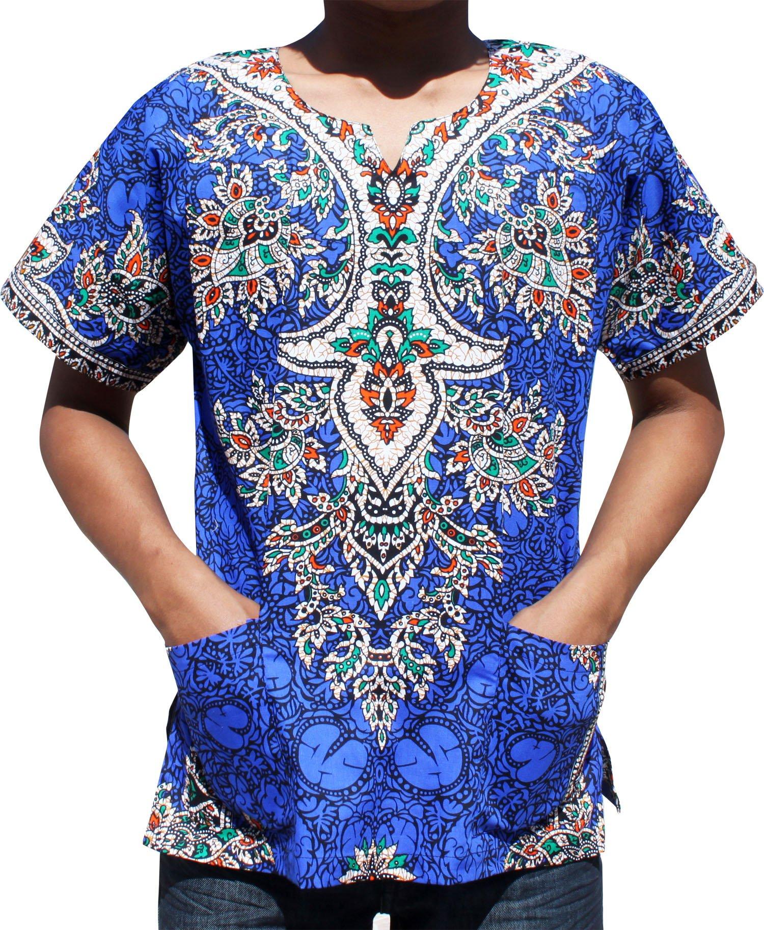 RaanPahMuang Unisex Dashiki Shirt African Freedom Short Sleeve Vibrant Colors, Small, Zaffre Blue