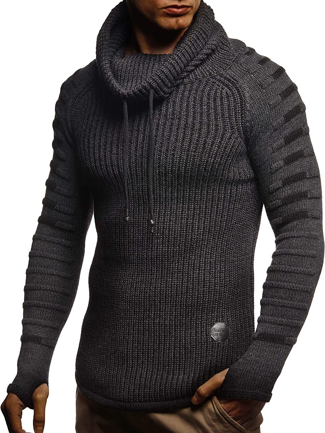 Leif Nelson Mens Pullover Knit Sweater Chunky Knit Stand-up Collar LN-5640 Black Large