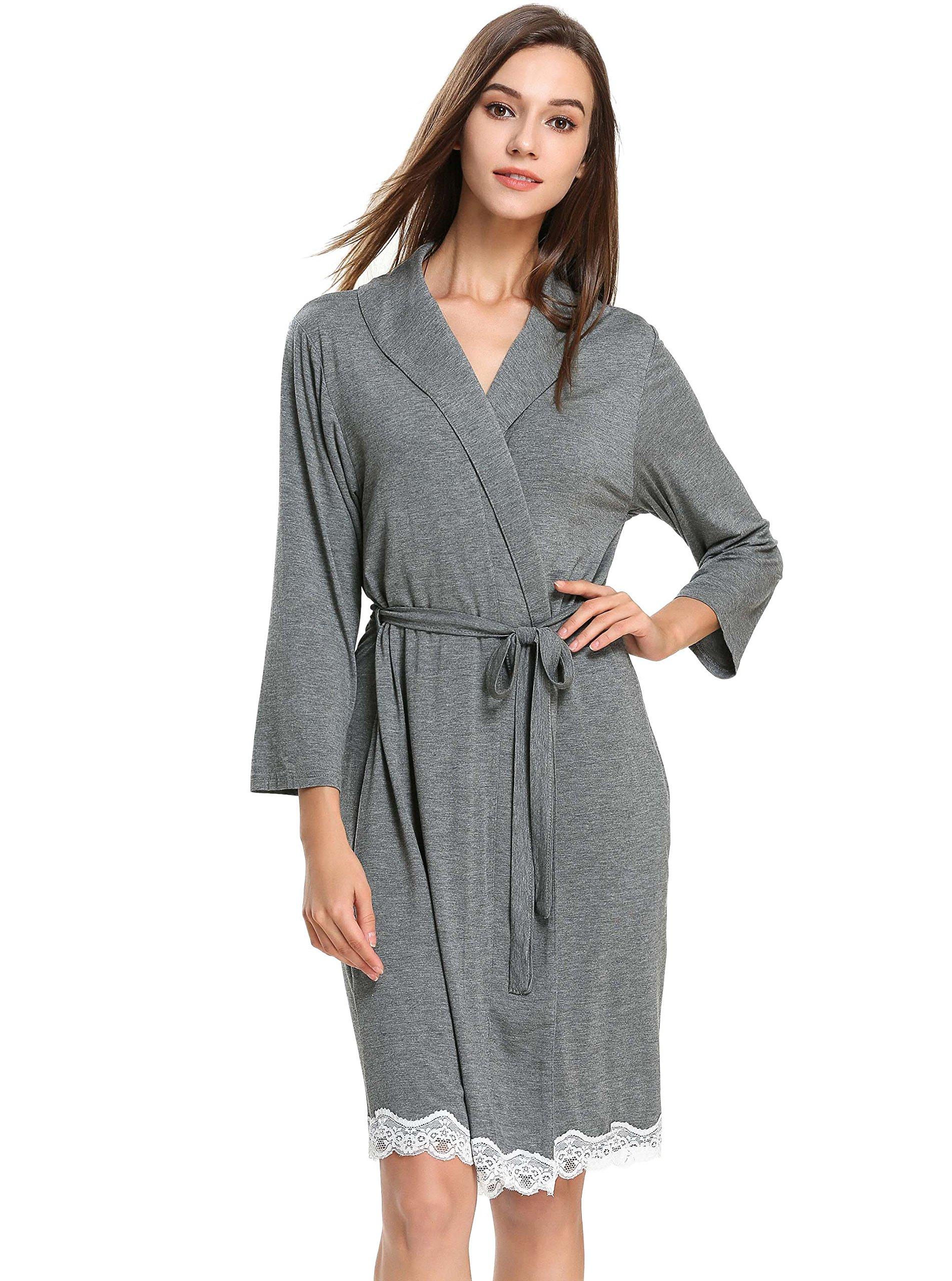 GUANYY Womens Robe Kimono Cotton Lightweight Lace Decor Bathrobe Sleepwear with Belt (Dark Gray,X-Large)