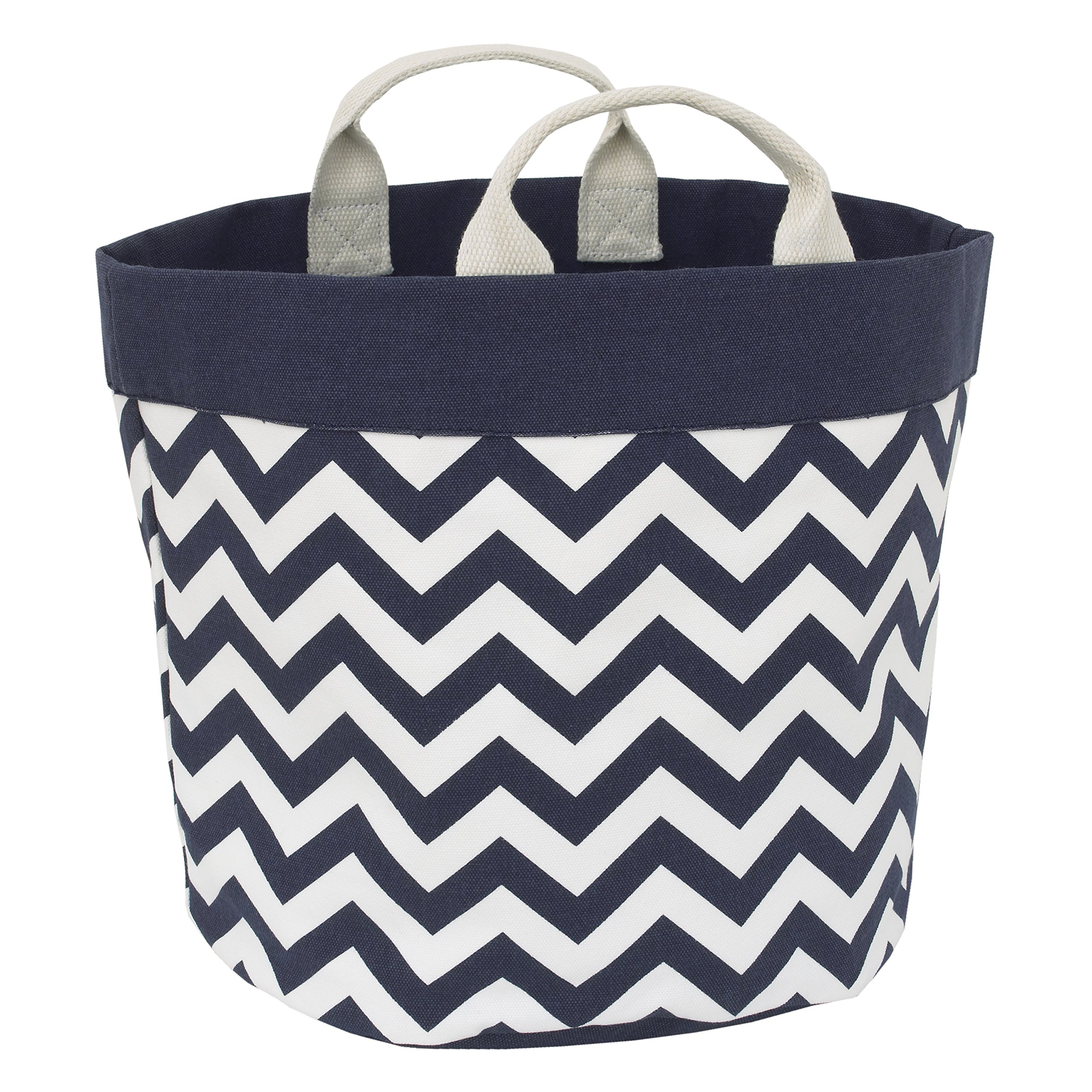 Little Love by NoJo Chevron Reversible Storage Tote with Handles, Navy/White