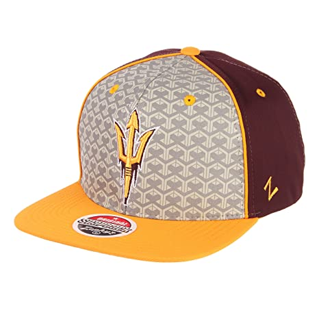 super popular 86424 342b8 ZHATS NCAA Arizona State Sun Devils Men s Reflector Snapback Hat,  Silver Maroon, Adjustable