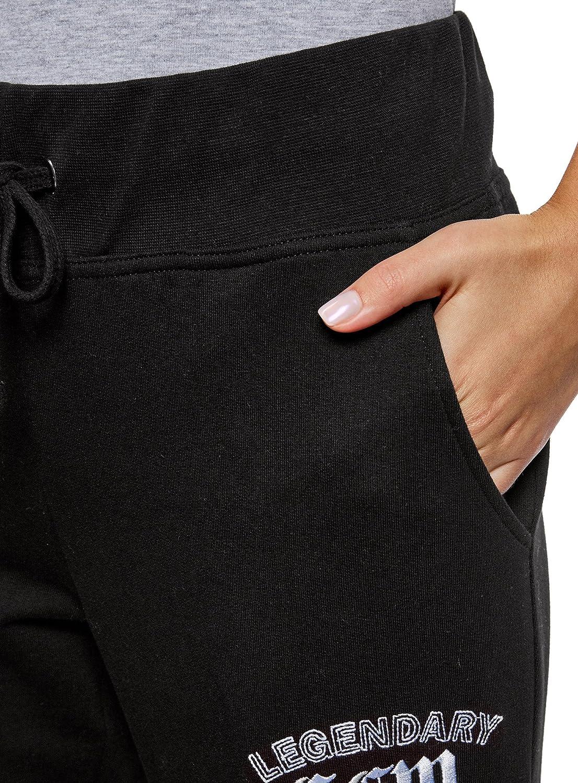 oodji Ultra Donna Pantaloni in Maglia con Ricamo
