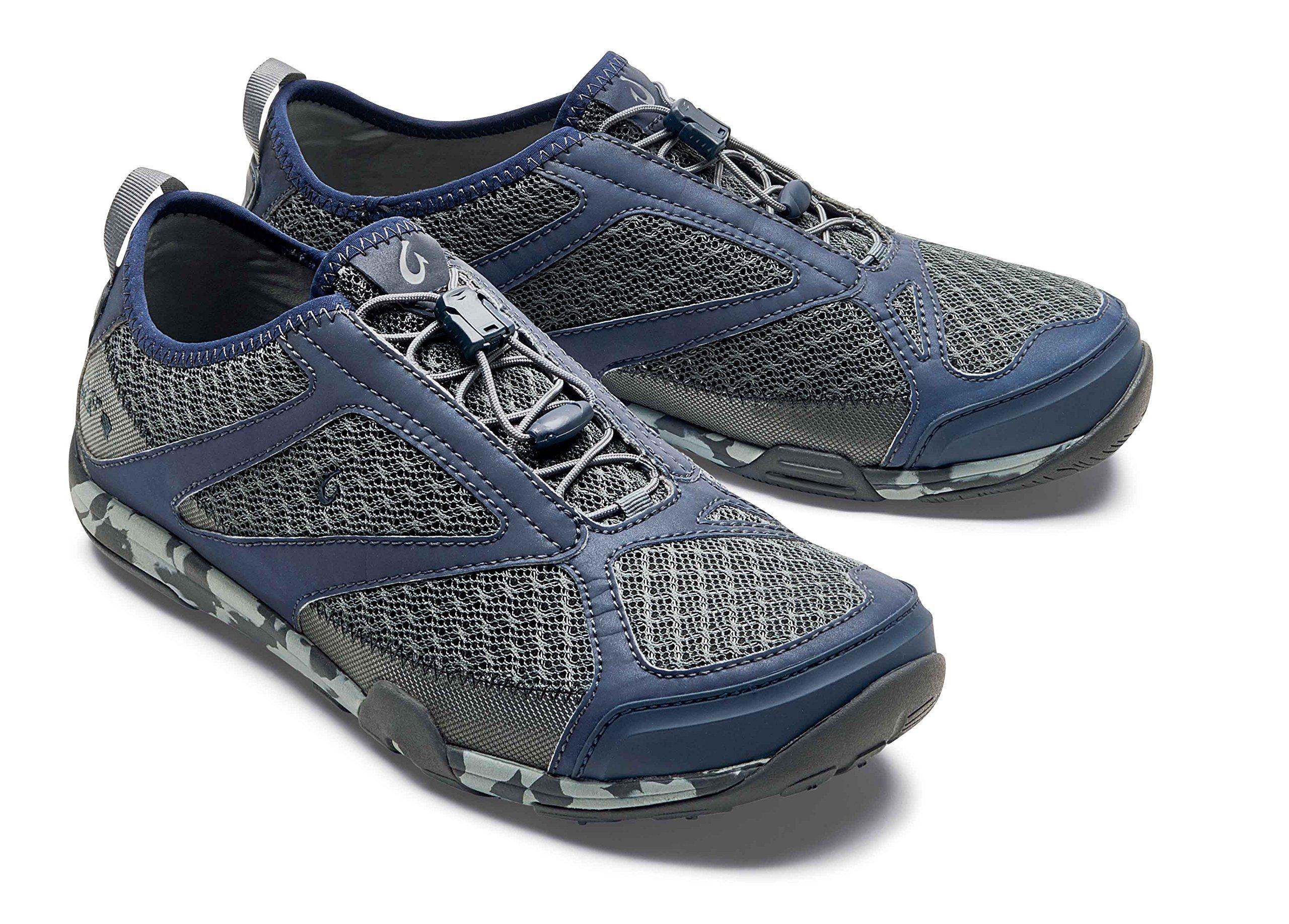 OluKai New Men's 'Eleu Trainer Water Shoe Charcoal/Trench Blue 11