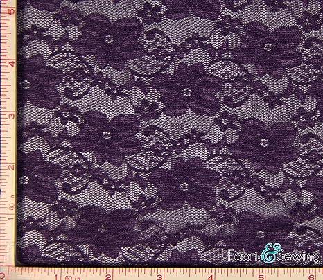 "7/"" Wide Dusty Purple Floral  Flowers Stretch Lace Trim BTY"