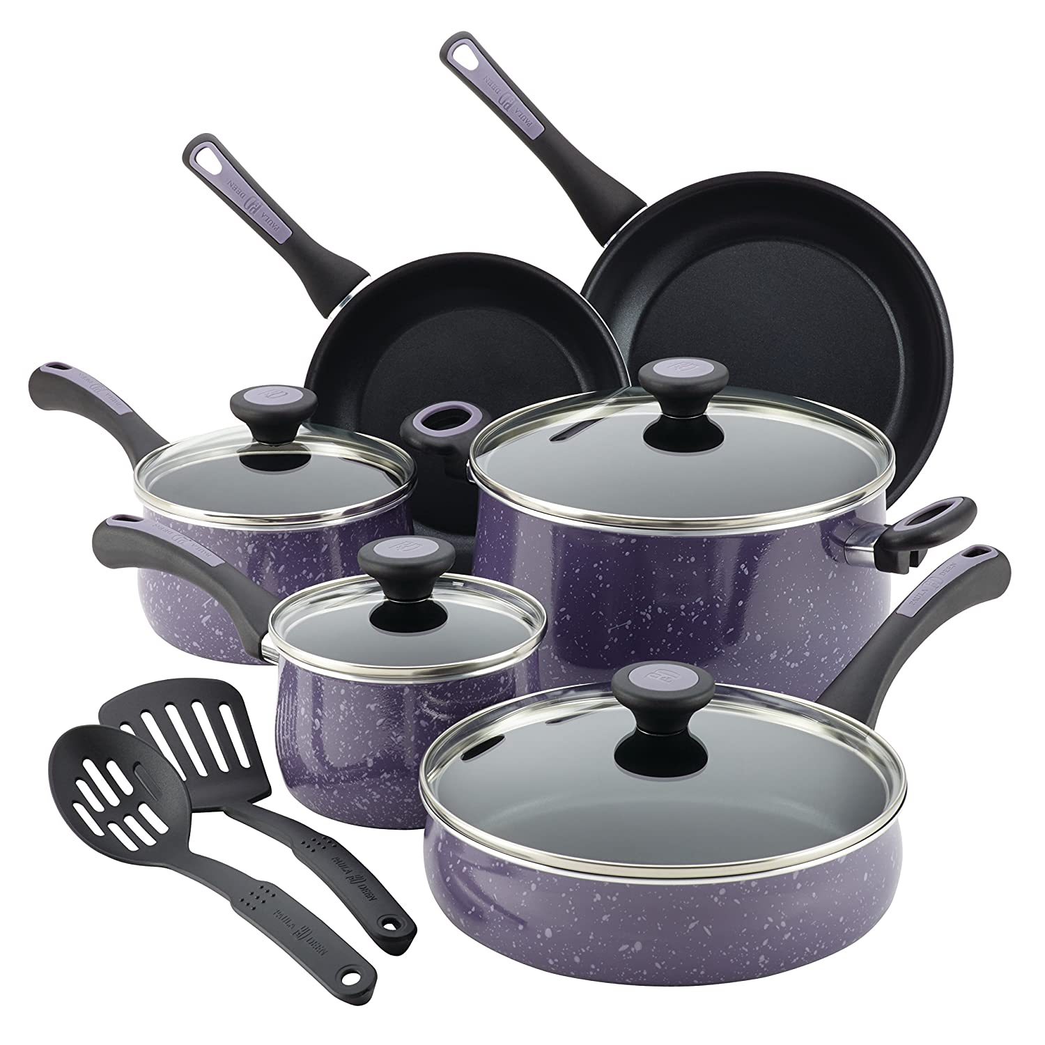 Paula Deen Riverbend Aluminum Nonstick Cookware Set, 12-Piece, Lavender Speckle