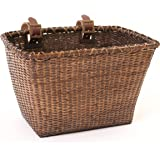 Retrospec Bicycles Cane Woven Rectangular Toto Basket with Authentic Leather Straps and Brass Buckles