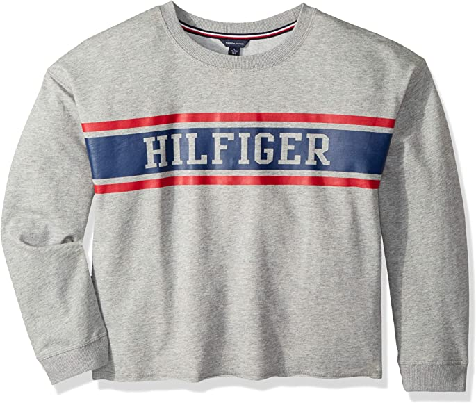 ef4fb655 Tommy Hilfiger Big Girls' Sport Pullover Sweater, Pearl Heather Crew, ...