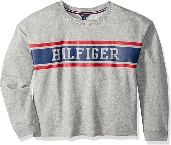 376fedd6d Tommy Hilfiger Big Girls' Sport Pullover Sweater, Pearl Heather Crew, ...