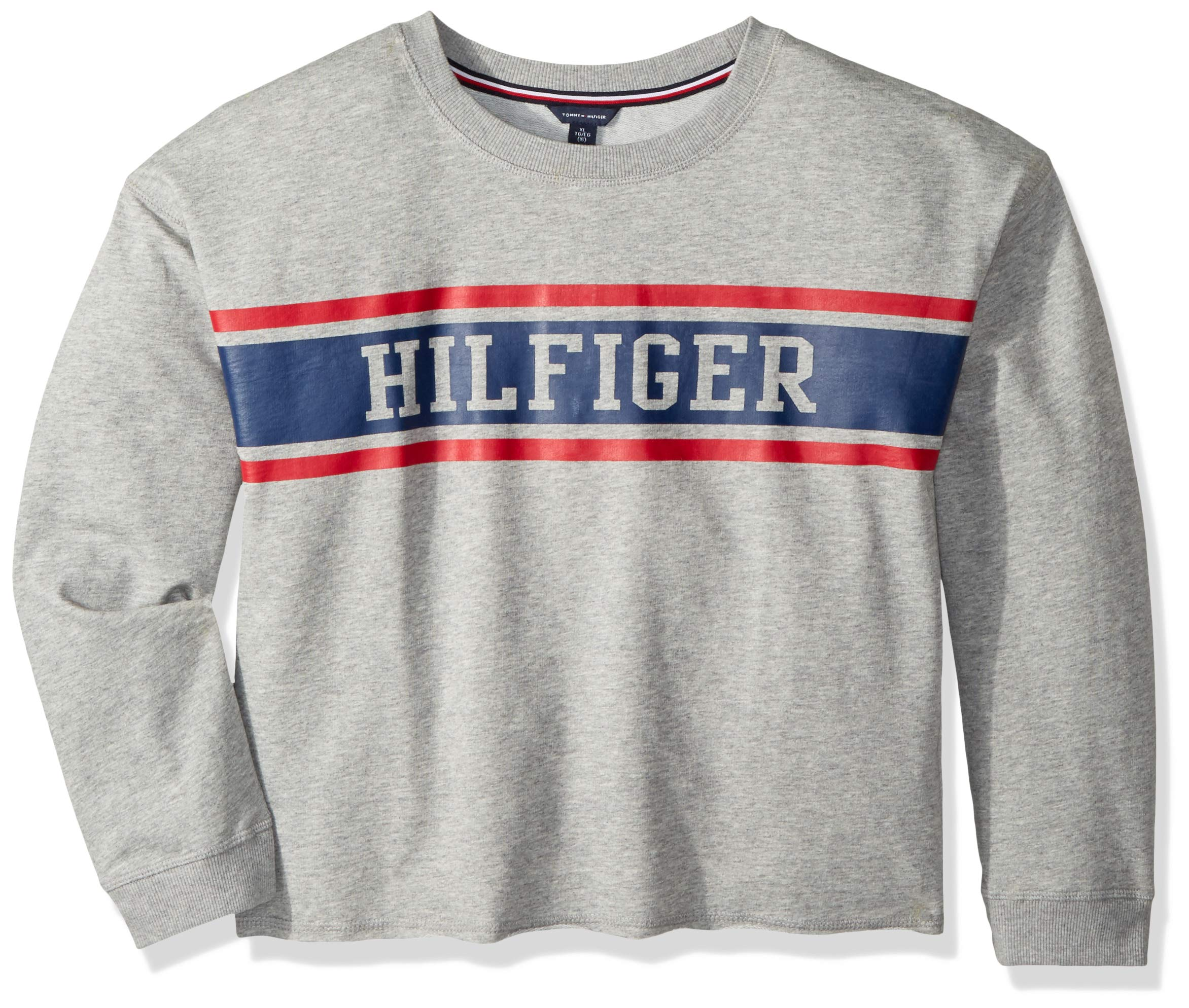 Tommy Hilfiger Big Girls' Sport Pullover Sweater, Pearl Heather Crew, Small 7