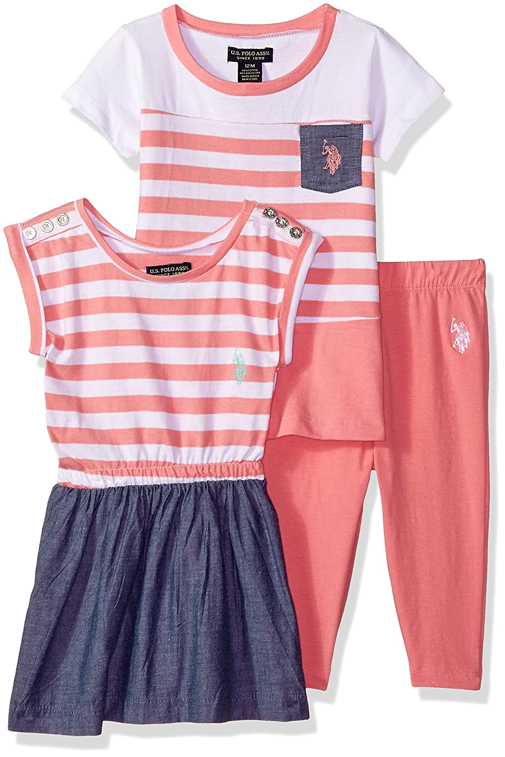 U.S. Polo Assn. Baby Girls Knit, Fashion Top and Pant Set