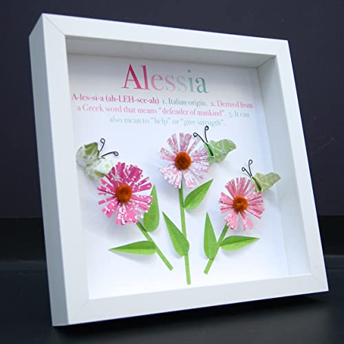 Amazon personalized name origin and meaning baby gift paper personalized name origin and meaning baby gift paper origami shadowbox frame daisy flowers butterflies custom negle Image collections