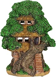 """Exhart Thatched Roof Tree House Garden Statue, Fairy Cottage, Resin, Solar Powered, 9"""" L x 7"""" W x 12"""" H"""