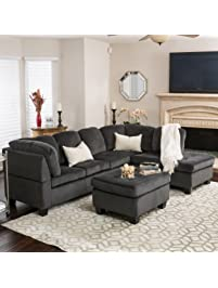 Gotham 3 Piece Charcoal Fabric Sectional Sofa Set Part 68