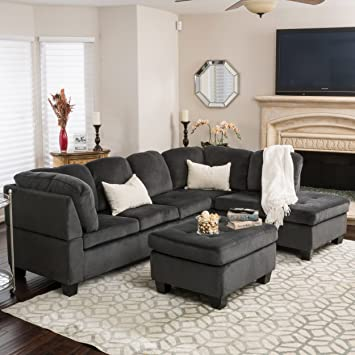 Gotham 3 Piece Charcoal Fabric Sectional Sofa Set