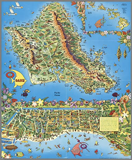 photograph regarding Printable Map of Waikiki named Map Poster - A Pic-Excursion Map. Honolulu, Waikiki and Spherical the Isle of Oahu. Waikiki Seaside. - 24\