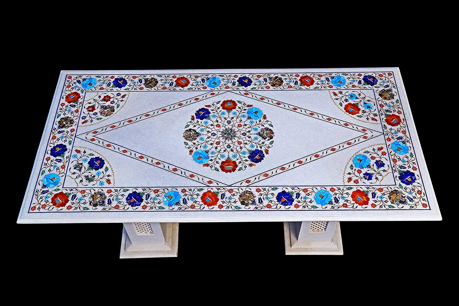 Marble Floral Center Coffee Table Top Pietra Dura Handmade Art Home Decor octagon shape made by rural Artisan from Agra Size 12 x 12 inch
