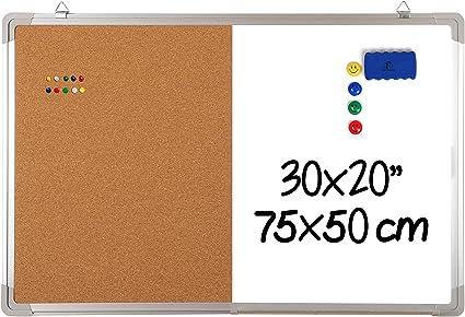 Pizarra Blanca Magnética con Corcho - 75x50cm Tablero de Pared Grande + 1 Borrador Magnético, 4 Imanes y 10 Chinchetas de Colores para Oficina y Cocina: Amazon.es: Oficina y papelería