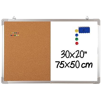 Pizarra Blanca Magnética con Corcho - 75x50cm Tablero de Pared Grande + 1 Borrador Magnético, 4 Imanes y 10 Chinchetas de Colores para Oficina y ...