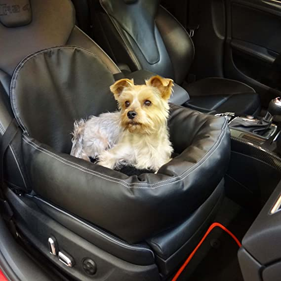 Knuffliger Leder Look Autositz Für Hund Katze Oder Haustier Inkl Gurt Und Sitzbefestigung Haustier
