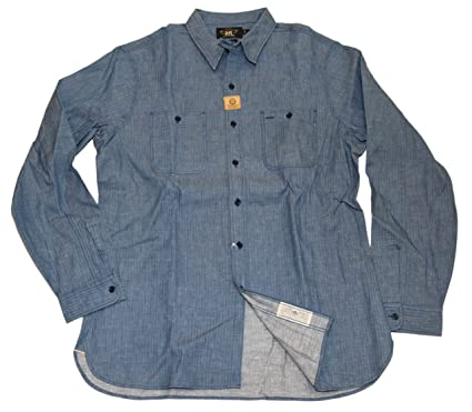 7beffcc4 Image Unavailable. Image not available for. Color: Ralph Lauren Polo Double  RL RRL Mens Workshirt Denim Jean Shirt Blue Large