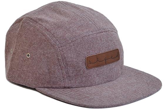 5efc8d1fa9eb3 Skyed Apparel Premium 5 Panel Summit Burgundy Camper Hat with Genuine  Leather Strap