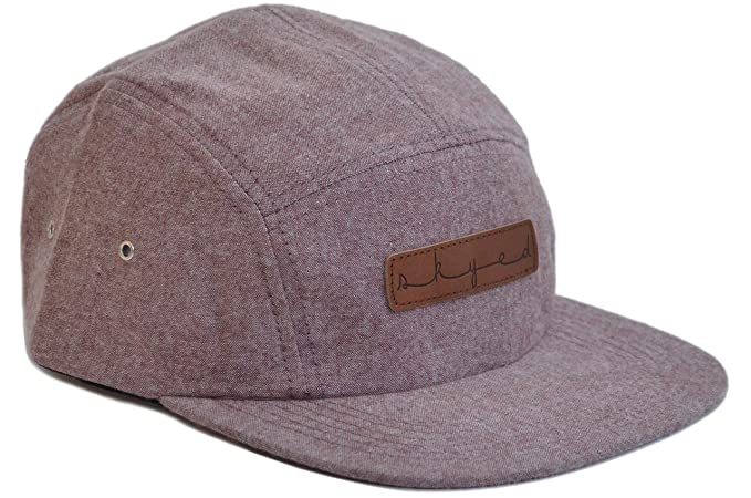 8585c68cd93 Skyed Apparel Premium 5 Panel Summit Burgundy Camper Hat with Genuine  Leather Strap