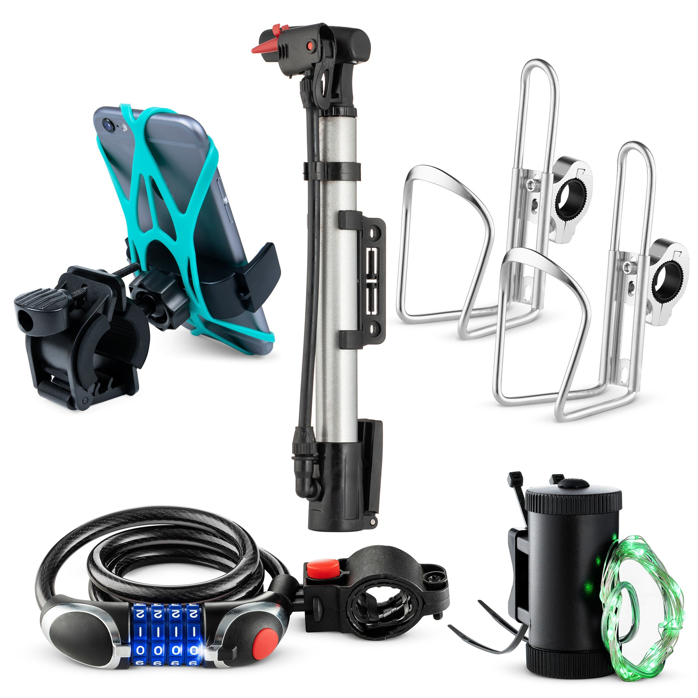 Bikes On Hikes 6 Piece Bike Accessory Kit Green - Includes Hand Bar Cup Holder(2), Led Wheel Light (1), LED Combination Lock(1), Phone Mount(1), Air Pump(1)- Perfect All in One Set for Bike/MTB Riding