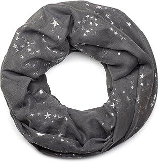 styleBREAKER écharpe snood avec motif imprimé d étoiles métalliques  scintillantes un peu partout, écharpe ce4652b144f