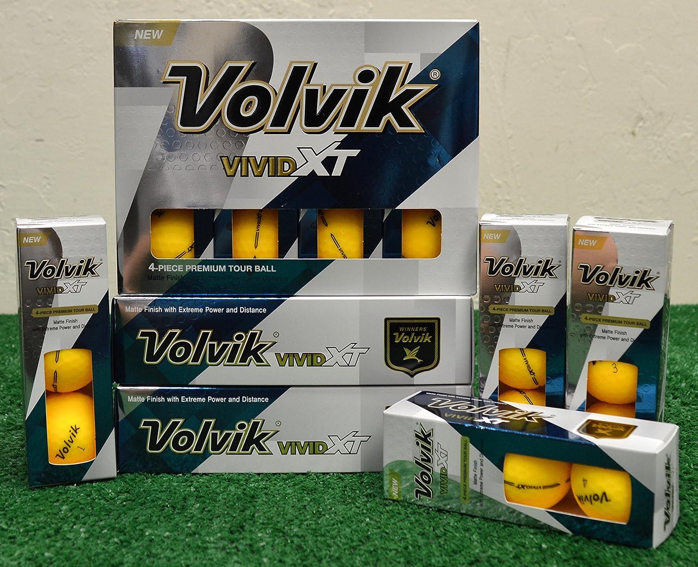 4 Dozen Volvik Vivid XT Matte Yellow Golf Balls - New in Box