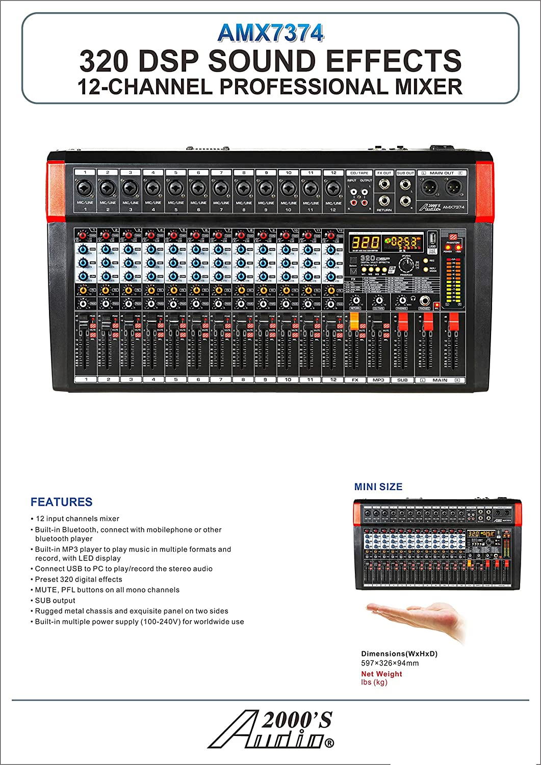 and USB//Computer Interface Audio2000S AMX7381 Four-Channel Powered Audio Mixer with 320 DSP Sound Effects Stereo Sub Out with Sub-Out Level-Control Fader Level-Control Faders on All Channels