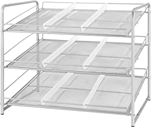 Vontreux Stackable Can Rack Organizer, Mesh Can Storage Dispenser for Kitchen Cabinet or Pantry, Silver