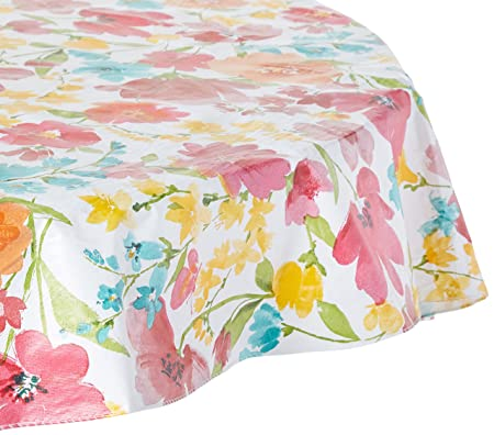 Elrene Home Fashions 39321MLT Vinyl Picnic Outdoor Tablecloth/Umbrella Hole/Flannel Backing, 70