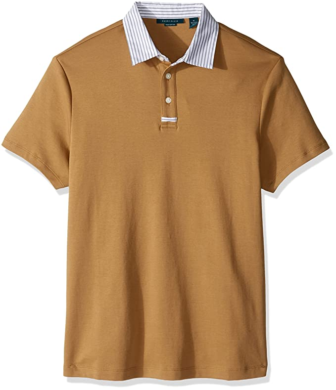 Retro Clothing for Men | Vintage Men's Fashion Perry Ellis Mens Stripe Collar Pima Cotton Jersey Polo Shirt $59.50 AT vintagedancer.com