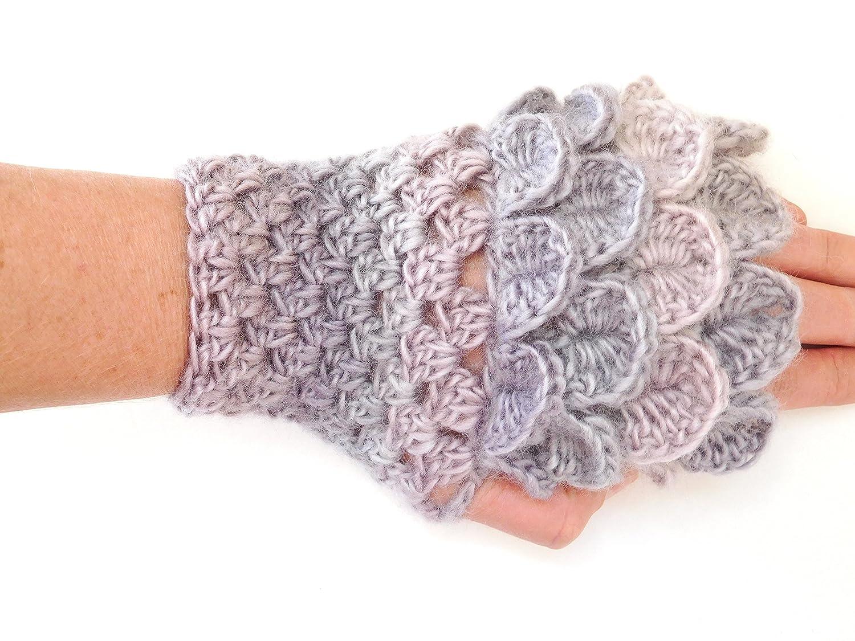 Crochet Dragon Scale Gauntlets, Gray Fingerless Gloves for Women