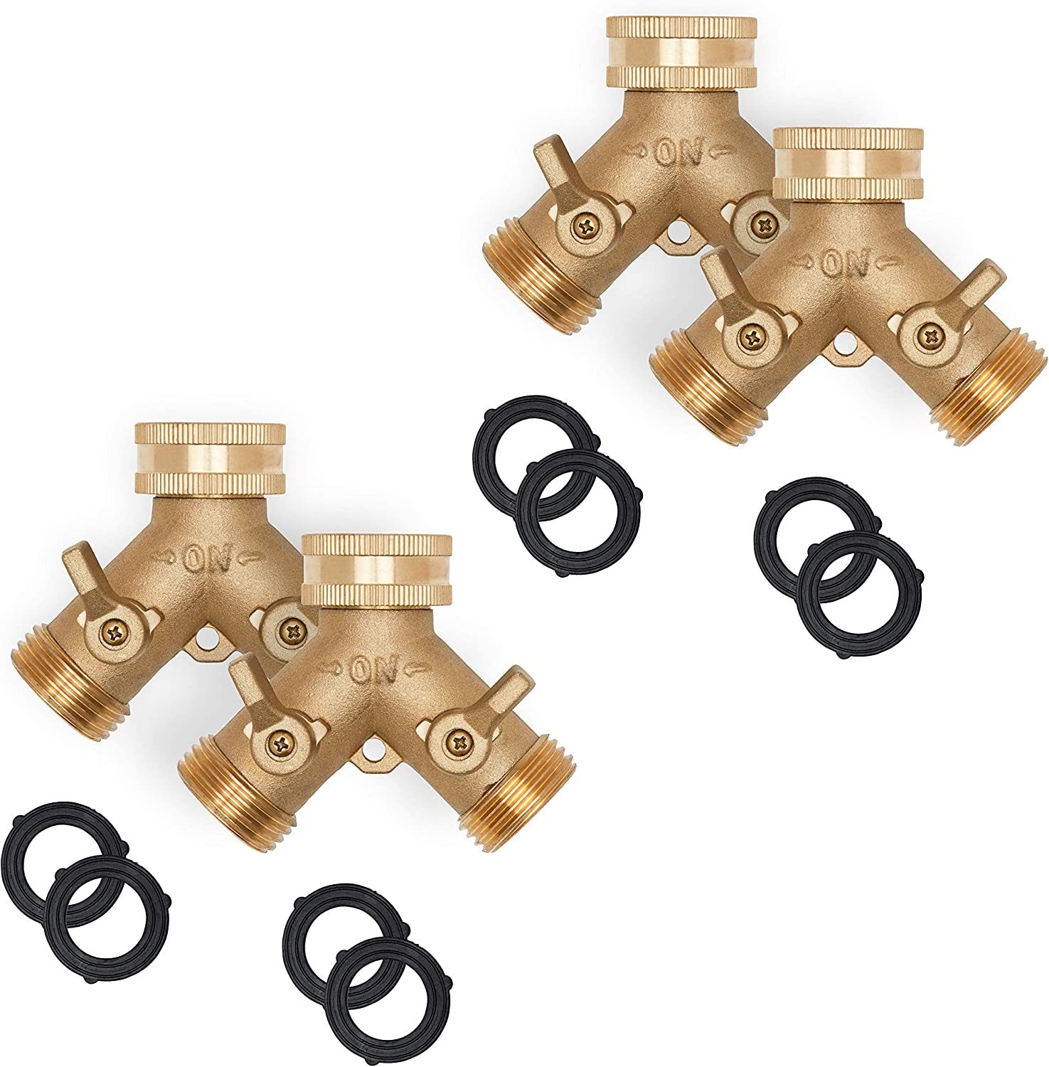 Morvat Heavy Duty Brass Garden Hose Connector Tap Splitter (2 Way) – New and Improved - Outlet Splitter, Hose Splitter, Hose Spigot Adapter with 2 Valves, Plus 2 Extra Rubber Washers, 4 Pack