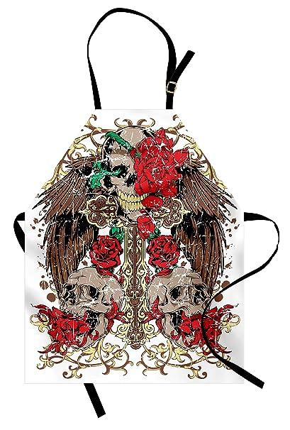 8b0bb28f6 Lunarable Tattoo Apron, Mexican Sugar Skull Ceremony Ritual Folkloric  Design Gates of Heaven Theme Artwork