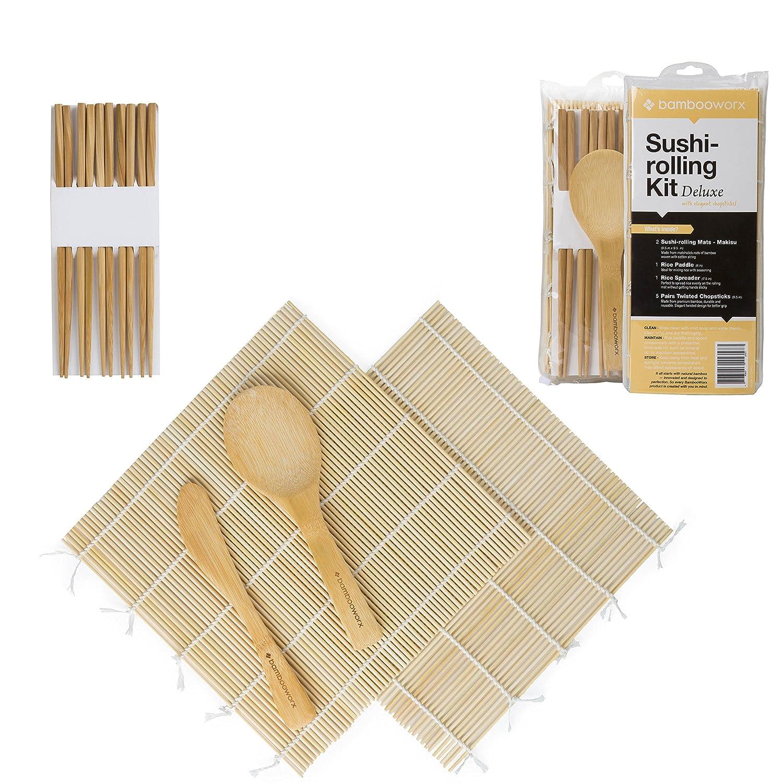 100/% Bamboo Sushi Mats /& Utensils Bamboo chopsticks BAMBOOWORX- Deluxe Sushi Making Kit 1 Rice Paddle Chopsticks- 5 Pairs Elegant Chopsticks 2 Sushi Rolling Mats 1 Rice Spreader