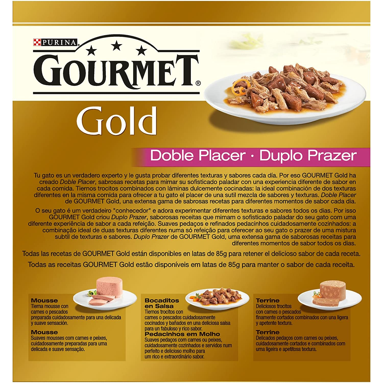 Purina Gourmet Gold Doble Placer comida para gatos Surtido 12 x [8 x 85 g]: Amazon.es: Productos para mascotas