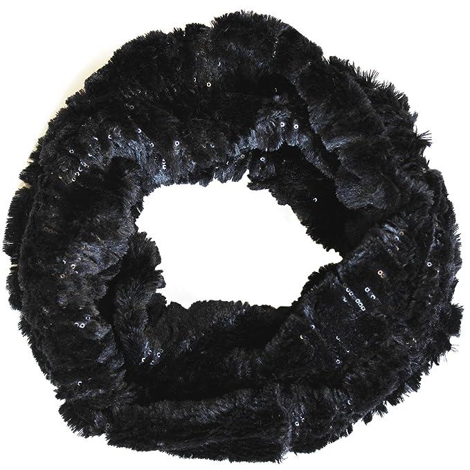 FERETI® Collo In Pelliccia Nero Scaldacollo Sciarpa Circolare Anello Lupo  Nero Molto Morbido  Amazon.it  Abbigliamento 792d7a92ebe
