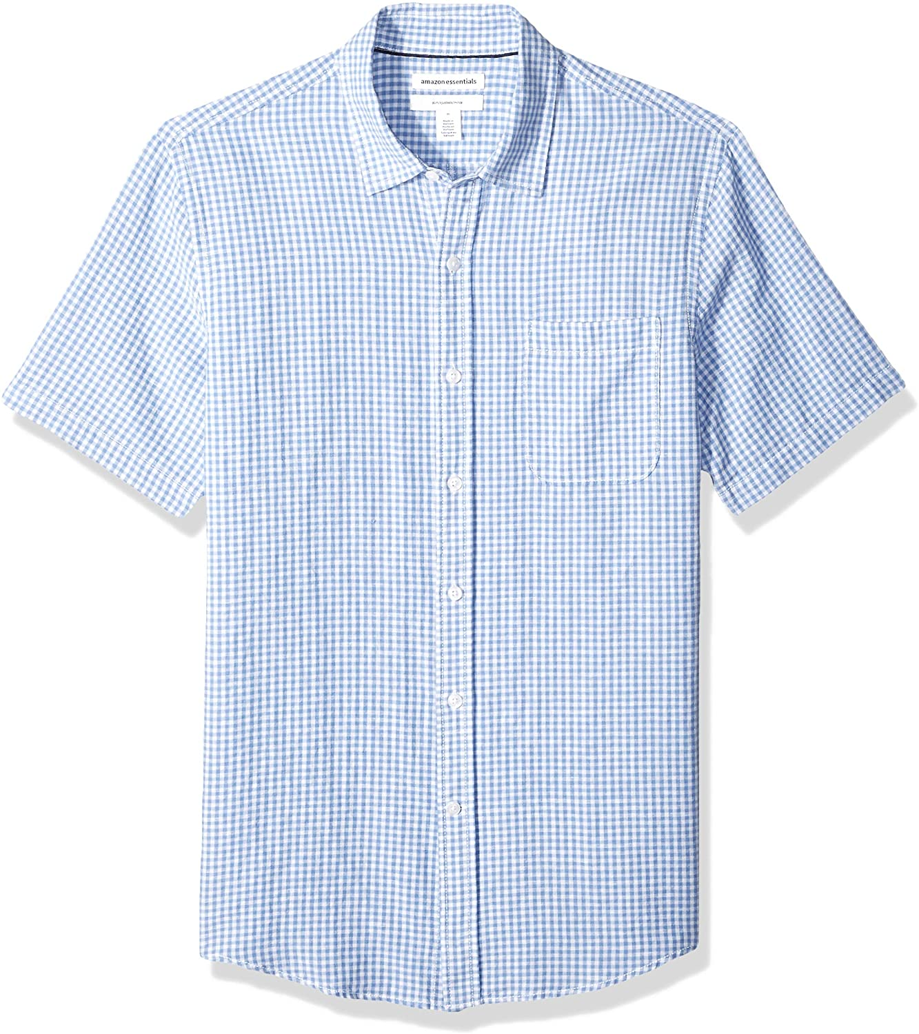 Amazon Essentials Camisa de Algodón de Lino de Manga Corta Ajustada Button-Down-Shirts Hombre